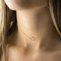 Dainty Choker Circle Gold Chain Necklace  For Women Charm Circle Chain Choker Necklace  XL461