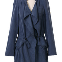 Navy Draped Trench Coat  Blue