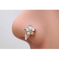 White Opal Flower Nose Hoop Nose Ring Daith Rook Cartilage