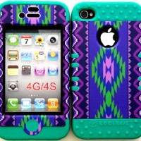 Bumper Case for Apple iphone 4 4G 4S Purple Tribal Aztec hard plastic snap on over Teal Silicone Gel