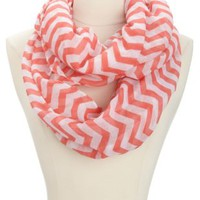 Chevron Print Infinity Scarf by Charlotte Russe - Red Combo
