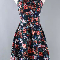 Floral Sleeveless Cross Strap Neckline Skater Dress