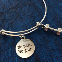 No Pain No Gain with Weight Charm Word Quote on Expandable Adjustable Wire Bangle Bracelet Trainer Gift