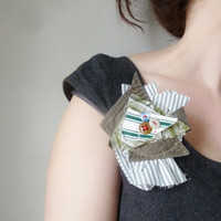 the bunch of greens bloom pin .. vintage fabric, eco-friendly shoulder pin