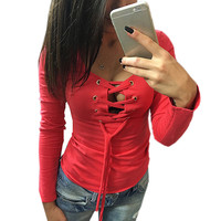 Sexy Women Lace Up  Deep V Neck T-shirts Long Sleeve Hollow Out Slim Tee Shirt Top Women Low Cut Clothes 5 Colors Blusas