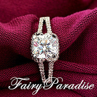 1 Ct Cushion Cut Man Made Diamond Halo Split Shank Band Solitaire Engagement Wedding Promise Ring - made to order (FairyParadise)