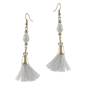 Beaded Fringe Tassel Drop Earrings