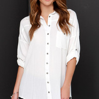 Dee Elle Daydreamer Ivory Button-Up Tunic Top