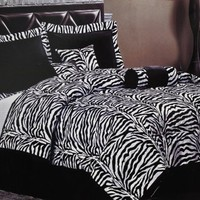7 Piece Black and White Flocking Zebra Comforter Bed in a Bag set - Queen Size Bedding by Plush C Collection
