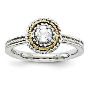 Sterling Silver & 14k Gold Stackable Expressions White Topaz Round Ring