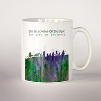 Lord of the rings coffee mug 2, The fellow ship of the ring tea cup 11 oz. Mug art, movie art, Lord of the rings illustration mug, Fan Gift,