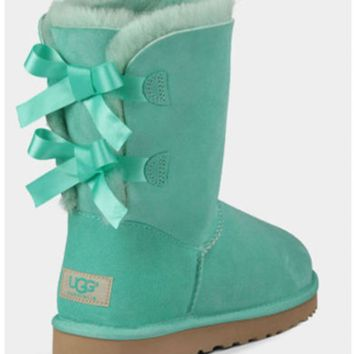 UGG:: bow leather boots boots in tubeb cute two bowknot Fresh Green