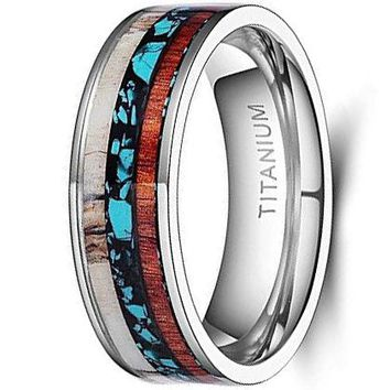 CERTIFIED 8mm Deer Antlers Titanium Ring Wedding Bands Turquoise Wood Inlaid Flat Comfort Fit
