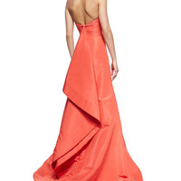 Strapless Draped-Back Silk Faille Gown