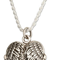 """STERLING SILVER 18"""" ANTIQUED ANGEL WINGS HEART LOCKET NECKLACE"""