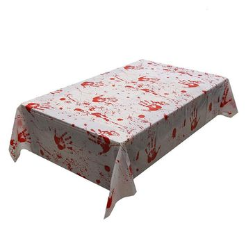 Blood Handprint Tablecloth 130x260cm Bloody Horror Table Decoration Halloween Party Decoration Favors Supplies