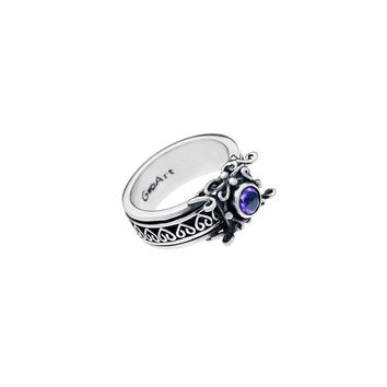 Art Nouveau Sterling Silver And Amethyst Spinner Ring