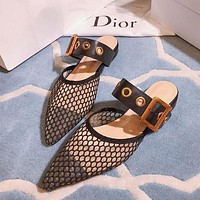 Dior Pointed Patent Leather Net Knitted Bread Head Slippers Shoes-1