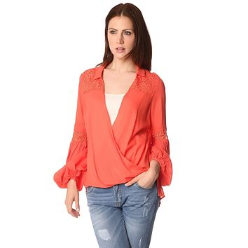 blouse with wrap front and draped detail