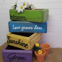 Rustic flower box, Love grows here, Mother's Day flower box, Farmhouse porch flower box, Distressed flower box, Farmhouse centerpiece