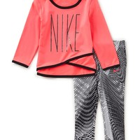 Nike Baby Girls 12-24 DriFit Sport Essentials Crossover Tunic & Printed Legging Set | Dillards
