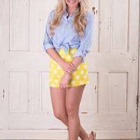 Retro Dot Shorts - Yellow