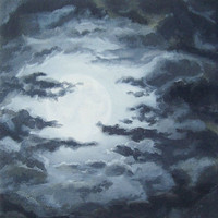 "Original Night Sky Painting, Moon and Clouds, Cloudy Night Sky Art, Dark Clouds, Full Moon, Skyscape, Black Cloud Art, Grey, Gray 10"" X 10"""