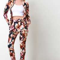 Textured Knit Floral Print High Waisted Pants
