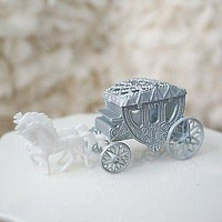 Royal Vintage Cinderella Horse and Carriage Coach Cake Topper Silver & White