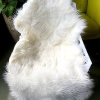 OJIA Deluxe Soft Faux Sheepskin Chair Cover Seat Pad Plain Shaggy Area Rugs For Bedroom Sofa Floor Ivory White 2ft x 3ft