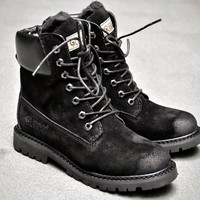 UGG  Trending Men Women Black Leather Side Zip Lace-up Ankle Boots Shoes High Boots