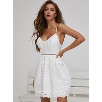 SBetro Zip Back Lace Insert Schiffy Cami Dress