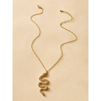 1pc Rhinestone Engraved Snake Charm Chain Necklace