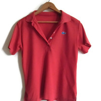 Womens Vintage Lacoste Red Polo Small Medium Blue Gator