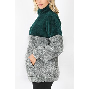 Colorblock Half Zip Up Faux Fur Pullover Sweater Jacket