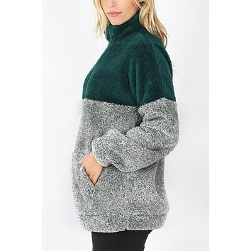 Colorblock Faux Fur Pullover Sweater