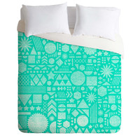 Nick Nelson Modern Elements In Turquoise Duvet Cover