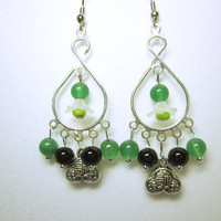Oriental Beaded Chandeliers, Oriental Earring Dangles, Silver Chandelier Frames With Green And Black Beads, White Cherry Blossom