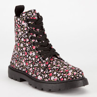 Simply Petals Girls Combat Boots Black/Pink  In Sizes