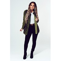 Face The Day Jacket: Dark Olive Green