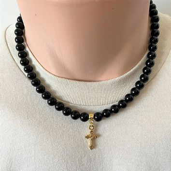 Black Onyx Mens Beaded Necklace with Gold Cross