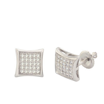 925 Sterling Silver Stud Screwback Earrings Clear Pave Cubic CZ 9mm Dome Shaped