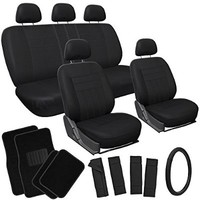 OxGord 21pc Solid Black Flat Cloth Seat Cover and Carpet Floor Mat Set for the Volkswagen Jetta Sedan, Airbag Compatible, Split Bench, Steering Wheel Cover Included