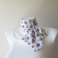 White Skinny Scarf, Long Thin Scarf with Angled Ends, Polka Dot Chiffon Scarf, Narrow Scarf, Neck Tie, Headband, Spring Summer Accessories