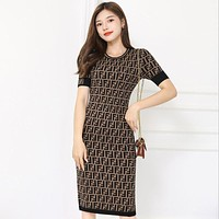 FENDI new dress, double F letter, age-reducing knit pullover, buttocks, thin women's clothing