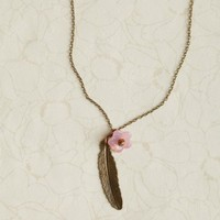 cherry blossom feather necklace by Violet Bella at ShopRuche.com