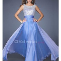 Romantic Floor Length V Back A Line/Princess Chiffon Scoop Prom Dresses - by OKDress UK