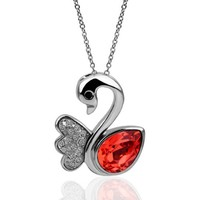 18KGP Red Crystal and Crystal Pave Wings Swan Pendant Necklace