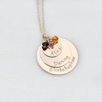 Personalized Necklace - Triple Stacker - Gold Birthstone Necklace - Three Names