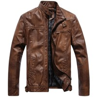 Stand Collar Motorcycle Jacket Men High Quality Slim Fit